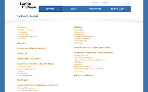 Screenshot of Services Page larkinhoffman.com - Larkin Hoffman - Service Areas - captured Sept. 30, 2014