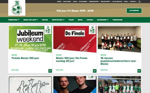 Screenshot of Home Page bieslo.nl - Voetbalvereniging Bieslo - v.v. Bieslo - captured May 30, 2019