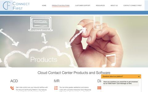 Screenshot of Products Page connectfirst.com - Cloud Contact Center Software | IVR, ACD, Outbound Dialer & Routing - captured Nov. 10, 2016