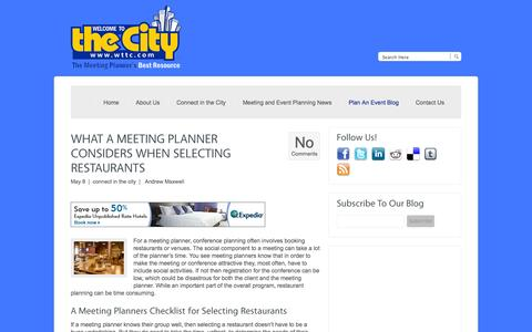 Screenshot of Blog mywelcometothecity.com - Welcome To The City | The Meeting Planner's Best Resource - captured Oct. 26, 2014