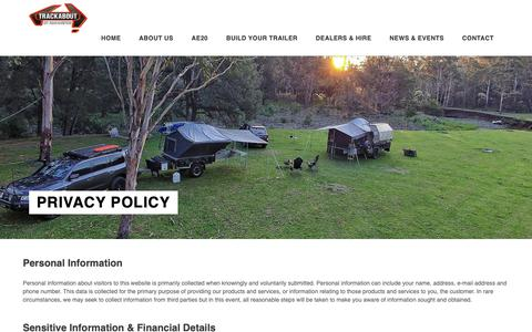 Screenshot of Privacy Page trackabout.com.au - Privacy Policy | Trackabout Campers - captured Oct. 18, 2018