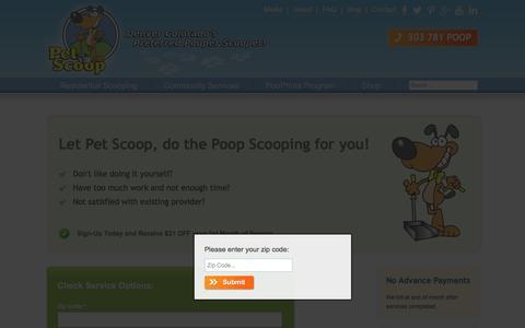 Screenshot of Signup Page petscoop.com - Sign up for Dog Waste Removal Services |  Pet Scoop - captured Jan. 27, 2016