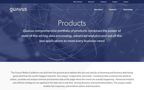 Screenshot of Products Page guavus.com - Guavus Products - captured Oct. 10, 2017