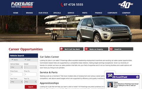 Screenshot of Jobs Page pickerings.com.au - Pickerings Careers   We have multiple sites of employment and various Automotive roles - Pickerings Auto Group - captured Sept. 28, 2018