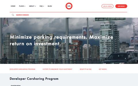 Screenshot of Developers Page modo.coop - Developer Carsharing Program | Modo - captured Nov. 29, 2016