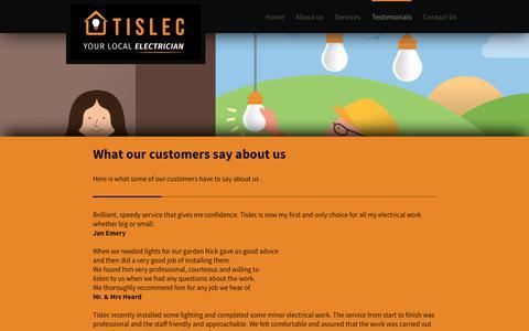 Screenshot of Testimonials Page tislec.co.uk - Tislec - captured Oct. 27, 2017