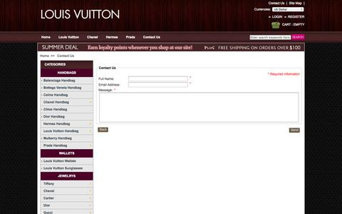 Screenshot of Contact Page knockofflouisvuittonstory.com - Contact Us , Replica Designer handbags, Fake Designer Handbags, Knock Off Designer Handbags, Knock Off Bags - captured Oct. 29, 2014