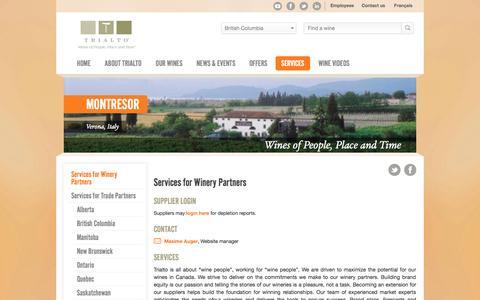Screenshot of Services Page trialto.com - Services for Winery Partners - Trialto - captured Nov. 5, 2014