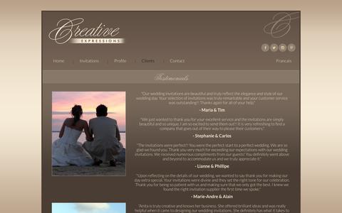 Screenshot of Testimonials Page creative-expressions.com - Creative Expressions - Custom Couture Invitations - Testimonials - captured Sept. 30, 2018