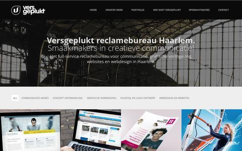 Screenshot of Home Page versgeplukt.nl - Webdesign Haarlem | Versgeplukt design en communicatie - captured Aug. 14, 2015
