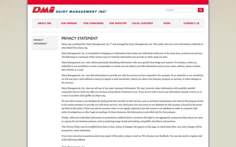 Screenshot of Terms Page dairy.org - Dairy Management Inc. :: Privacy Statement - captured Oct. 5, 2014