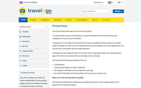 Screenshot of Privacy Page travelugo.com - Book Attractions, Car Hire, City Tours, Excursions, Airport and Cruise Transfers with Travelugo.com - captured Sept. 24, 2014