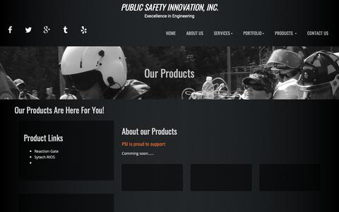 Screenshot of Products Page publicsafetyinnovation.com - Welcome - captured Dec. 8, 2018