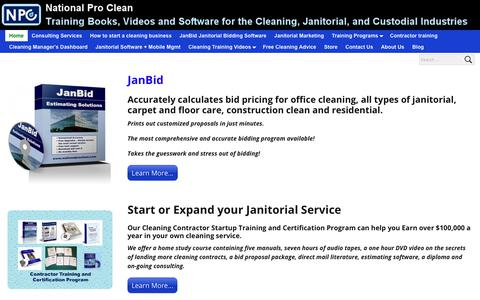 Screenshot of Home Page nationalproclean.com - Training Books, Videos and Software for the Cleaning, Janitorial, and Custodial Industries| National Pro Clean Corp. - captured Sept. 24, 2018