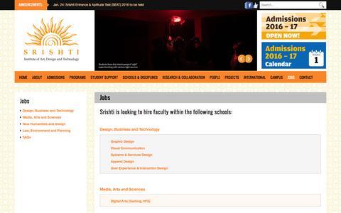 Jobs | Srishti Institute of Art, Design and Technology