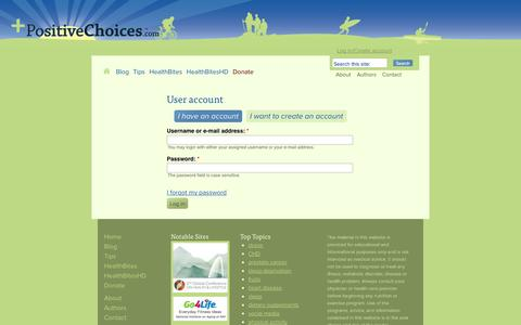 Screenshot of Login Page positivechoices.com - User account | PositiveChoices.com - captured Oct. 8, 2014