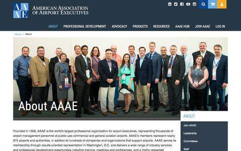 Screenshot of About Page aaae.org - About AAAE - captured July 28, 2018