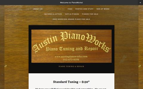Screenshot of Services Page austinpianoworks.com - Services & Pricing — PianoWorks - captured Nov. 2, 2014