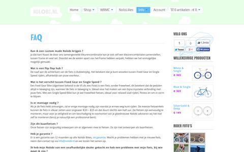 Screenshot of FAQ Page nolobi.nl - FAQ - Fixie - Fixed Gear / Single Speed Bikes   Trendy Gekleurde Stadsfietsen   Nolobi.nl - captured Oct. 26, 2014