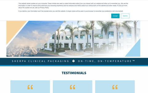 Screenshot of Testimonials Page sherpaclinical.com - Testimonials - Sherpa Clinical - captured Oct. 20, 2018