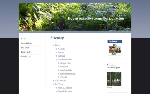 Screenshot of Site Map Page edenspace.com - Crop Biotechnology - Edenspace - captured Oct. 2, 2014