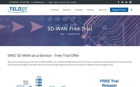 Screenshot of Trial Page teloip.com - SD-WAN Free Trial - captured Oct. 21, 2017