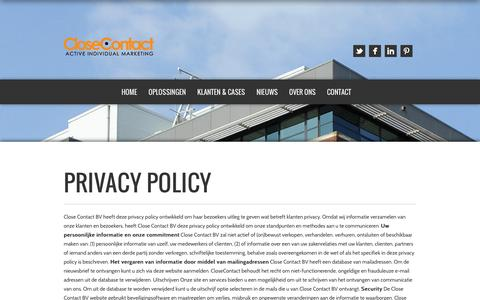 Screenshot of Privacy Page closecontact.nl - CloseContact | Privacy Policy - CloseContact - captured Oct. 2, 2014