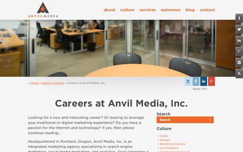 Screenshot of Jobs Page anvilmediainc.com - Integrated & Digital Marketing Careers | Anvil Media Inc. - captured Oct. 10, 2014
