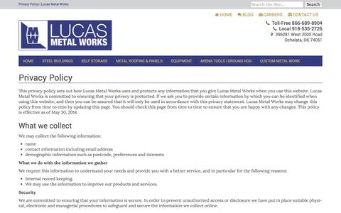 Screenshot of Privacy Page lucasmetalworks.com - Privacy Policy | Lucas Metal Works - captured Sept. 30, 2014