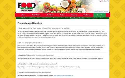 Screenshot of FAQ Page myfoodbazaar.com - Frequently Asked Questions   Food Bazaar Supermarket - captured Feb. 7, 2016