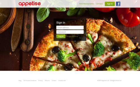 Screenshot of Login Page appetise.com - Appetise - captured July 18, 2014