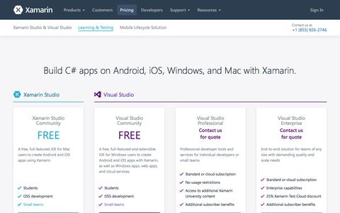 Screenshot of Pricing Page xamarin.com - Store - Xamarin - captured March 31, 2016