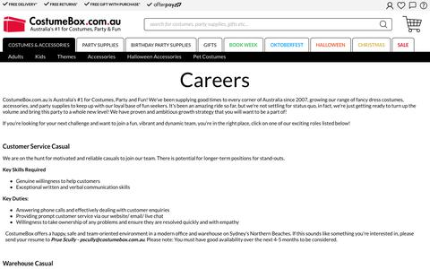 Screenshot of Jobs Page costumebox.com.au - Career - captured Sept. 22, 2018