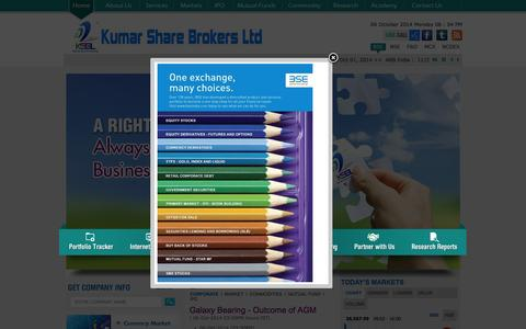 Screenshot of Home Page Privacy Page Contact Page Services Page Jobs Page Site Map Page kumarshare.com - Equity Trading | Online Equity trading| Equity trading tips @Kumar Share Brokers         LTD - captured Oct. 6, 2014