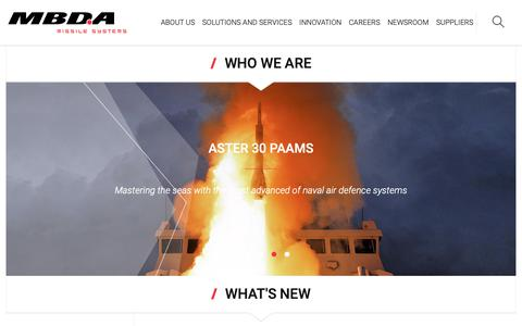 Screenshot of Home Page mbda-systems.com - MBDA - Excellence at your side - captured Sept. 30, 2018