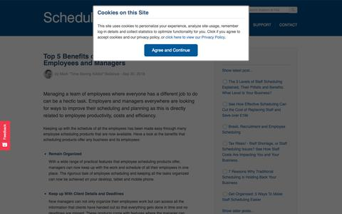 Screenshot of Blog scheduleit.co.uk - Resource Scheduling - Top 5 Benefits of Scheduling Software for Employees and Managers - captured Nov. 12, 2018