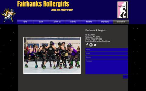 Screenshot of Contact Page fairbanksrollergirls.org - Contact FBXRG - captured Feb. 14, 2017