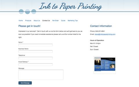 Screenshot of Contact Page inktopaperprinting.com - Ink to Paper Printing - Contact Us - captured Sept. 30, 2014