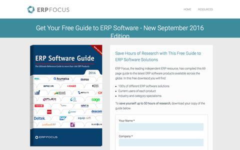 Screenshot of Landing Page erpfocus.com - ERP Software Guide - Global Edition - captured Dec. 1, 2016