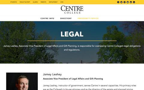 Screenshot of Terms Page centre.edu - Legal - Centre College - captured Sept. 22, 2018