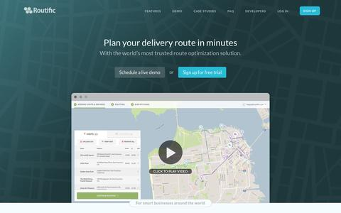Screenshot of Home Page routific.com - Route Optimization, Delivery Route Planner – Routific - captured Sept. 20, 2015