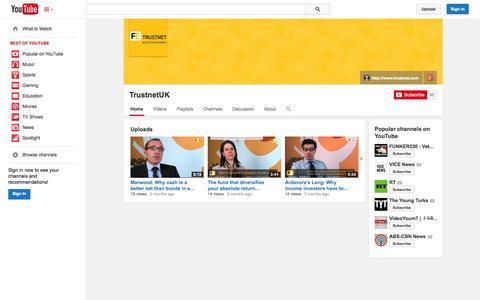 Screenshot of YouTube Page youtube.com - TrustnetUK  - YouTube - captured Nov. 3, 2014