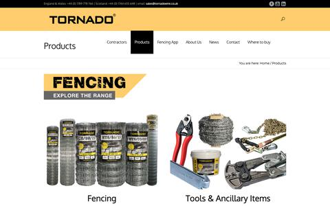 Screenshot of Products Page tornadowire.co.uk - Products | Tornado Wire - captured Nov. 17, 2018