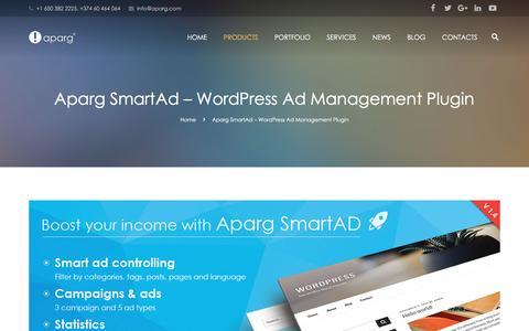 Screenshot of Products Page aparg.com - Aparg SmartAd - WordPress Ad Management Plugin - Aparg® - captured May 28, 2017