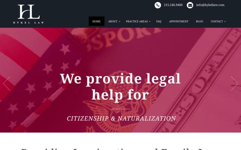 Screenshot of Home Page hykellaw.com - Immigration & Family Law Attorney in Philadelphia- Hykel Law - captured Jan. 17, 2015