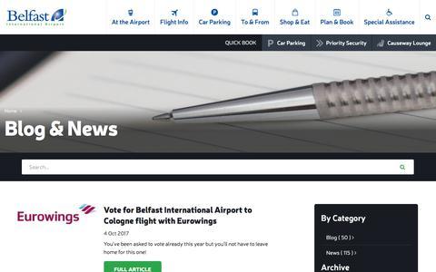 Screenshot of Blog belfastairport.com - Blog & News | Belfast International Airport - captured Oct. 10, 2017