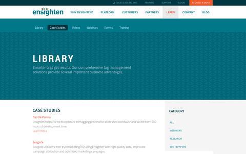 Screenshot of Case Studies Page ensighten.com - Case studies | Ensighten - captured July 19, 2014