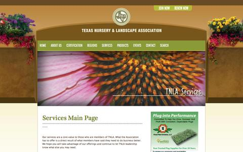 Screenshot of Services Page tnlaonline.org - Services Main — 2014 Texas Nursery & Landscape Association - captured Oct. 26, 2014