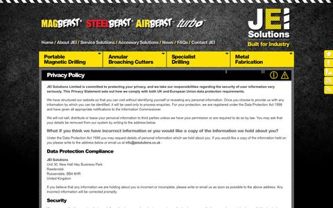 Screenshot of Privacy Page jeiuk.com - Privacy Policy | Legal Information | JEI Solutions Ltd, Lancashire - captured Oct. 4, 2014