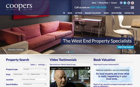 Screenshot of Home Page coopersoflondon.co.uk - Home Page | Coopers of London are a West End Property Specialist with a Sales and Lettings Department - captured Sept. 30, 2014
